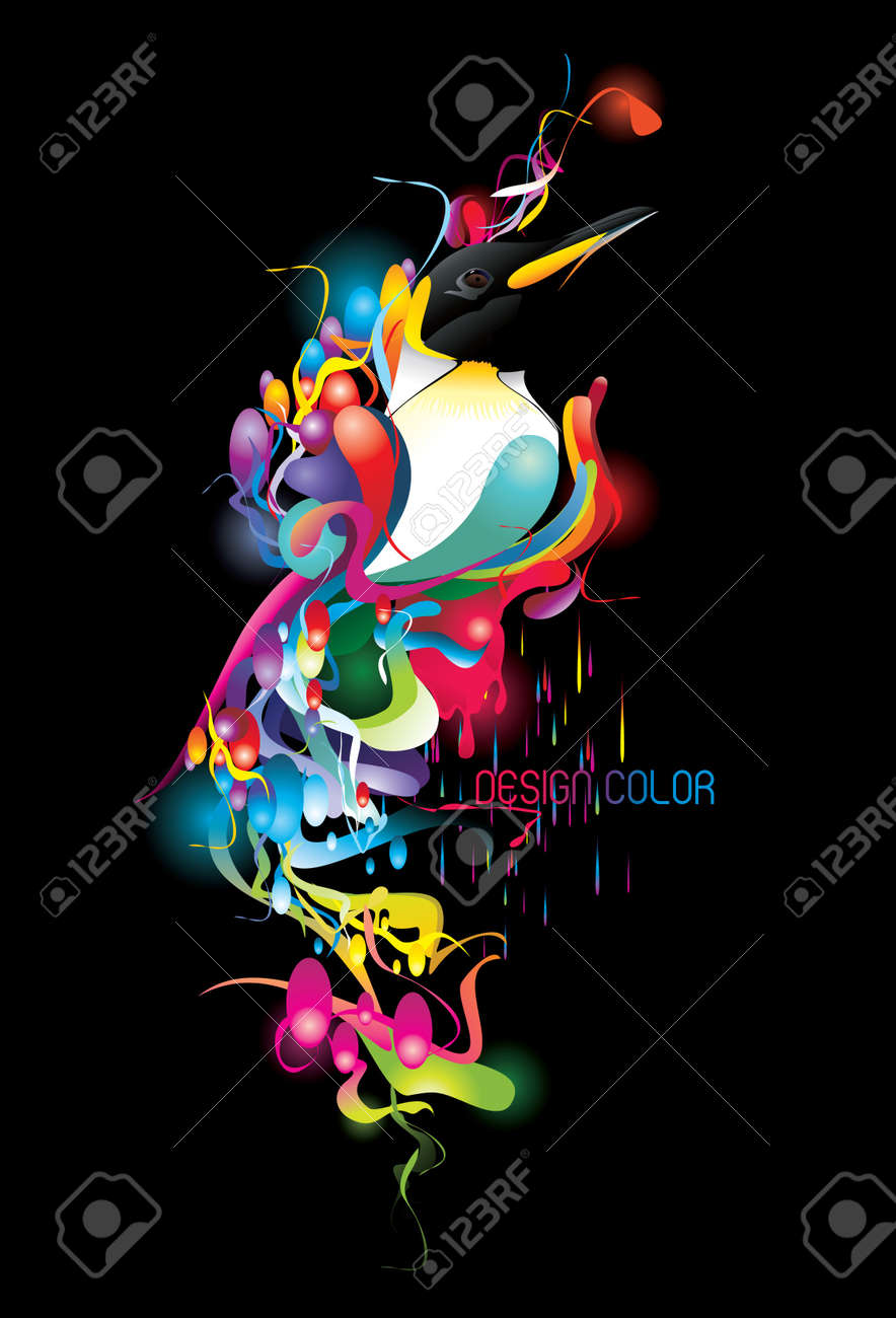 neon elements over a black background Stock Vector - 10695496