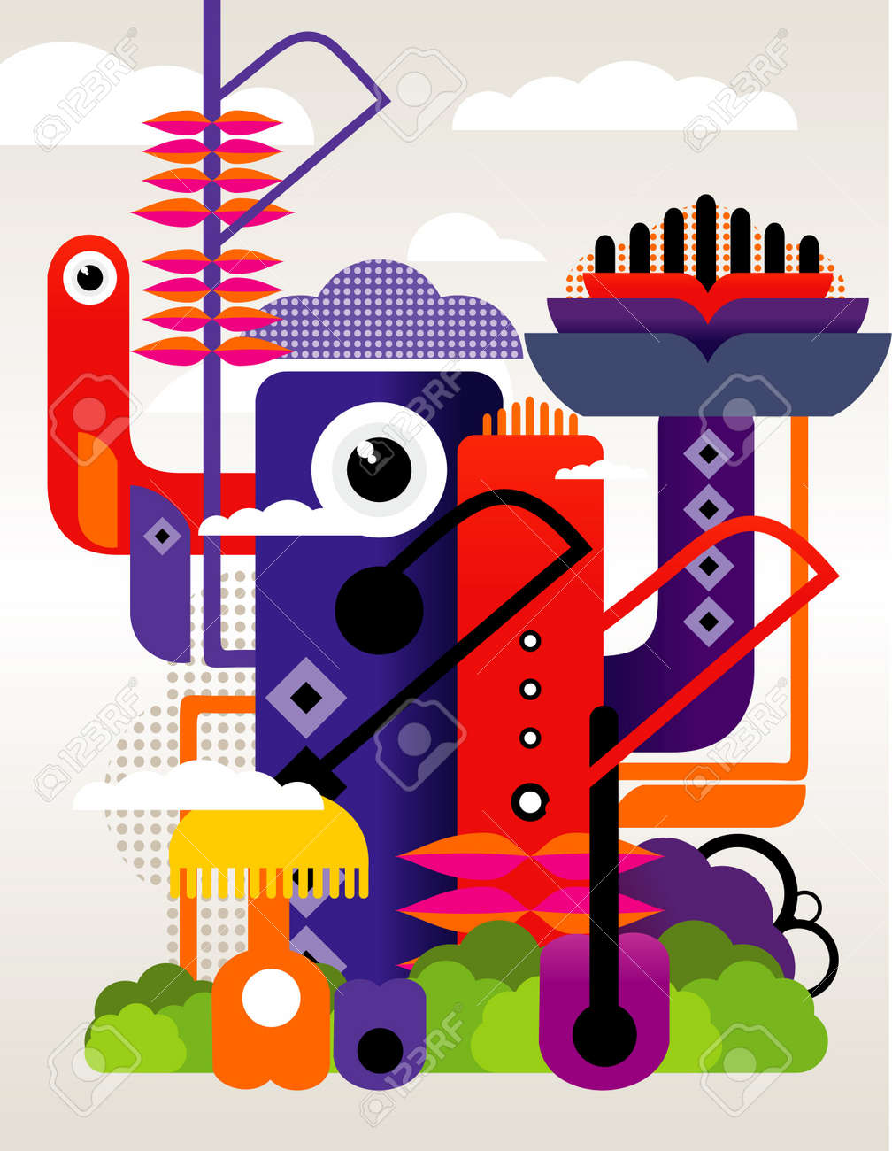 abstract city and characters vector Stock Vector - 11977995