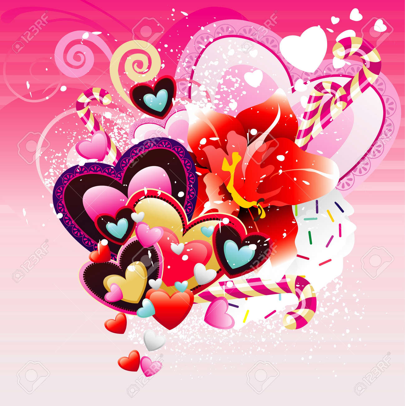 romantic hearts and flowers vector Stock Vector - 12150531