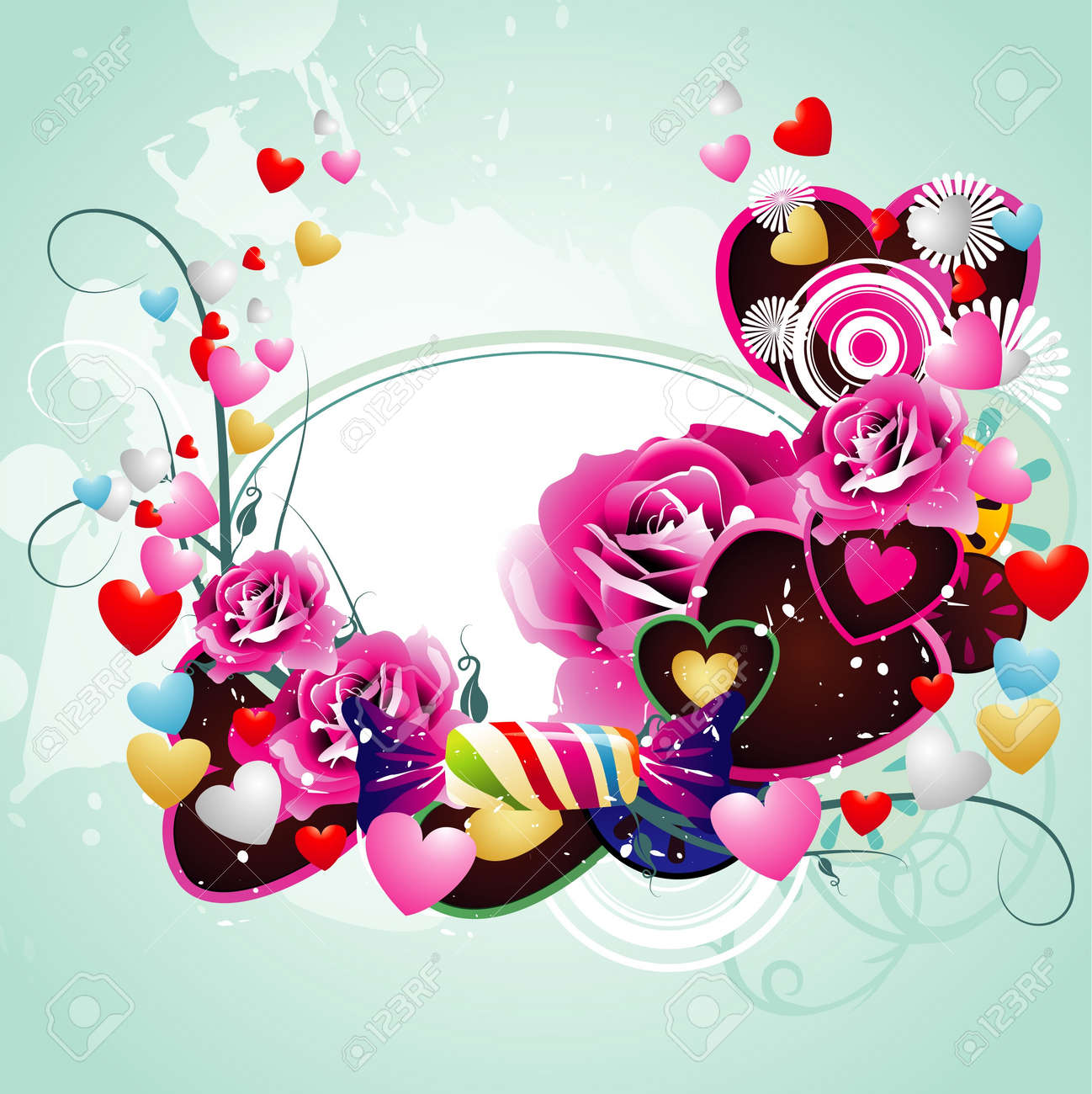 romantic hearts and flowers vector Stock Vector - 12150529