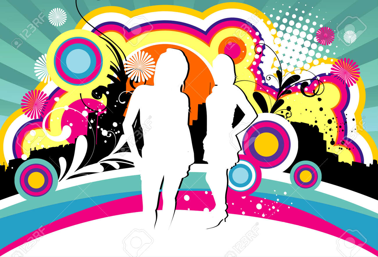 girl over color vector background Stock Vector - 12448447