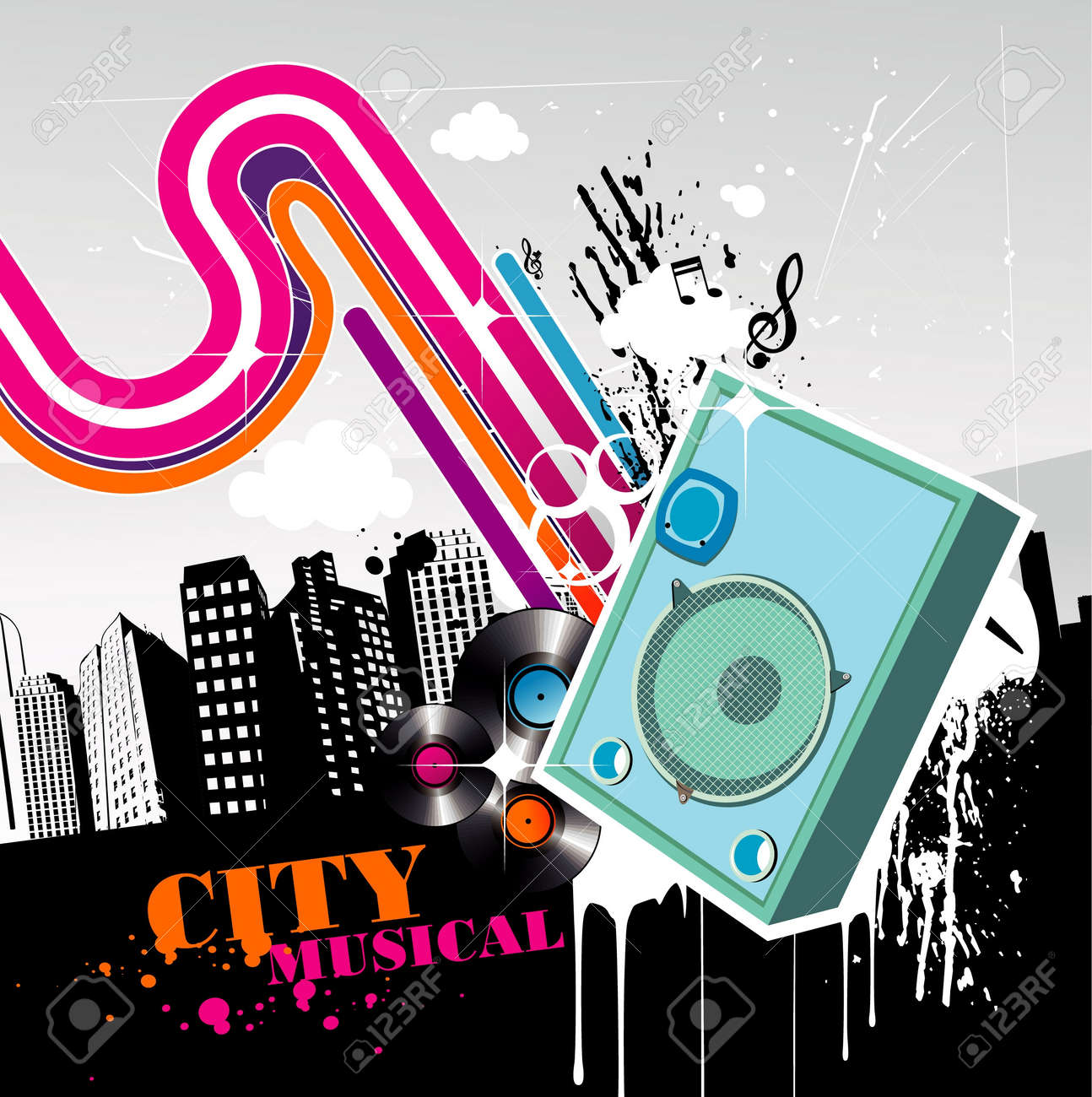 music in the city vector Stock Vector - 12772699