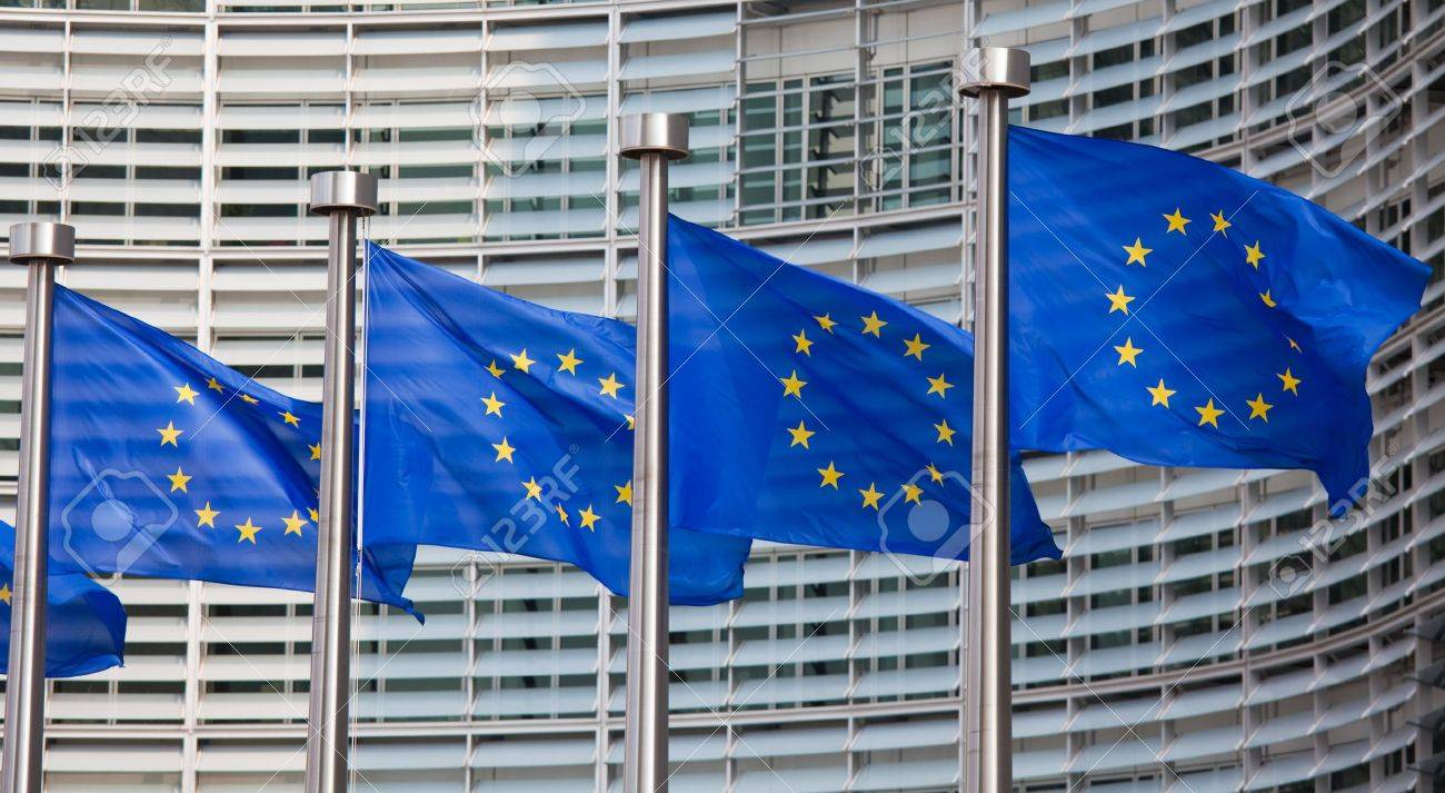 European flags in front of the Berlaymont building, headquarters of the European commission in Brussels - 14616848