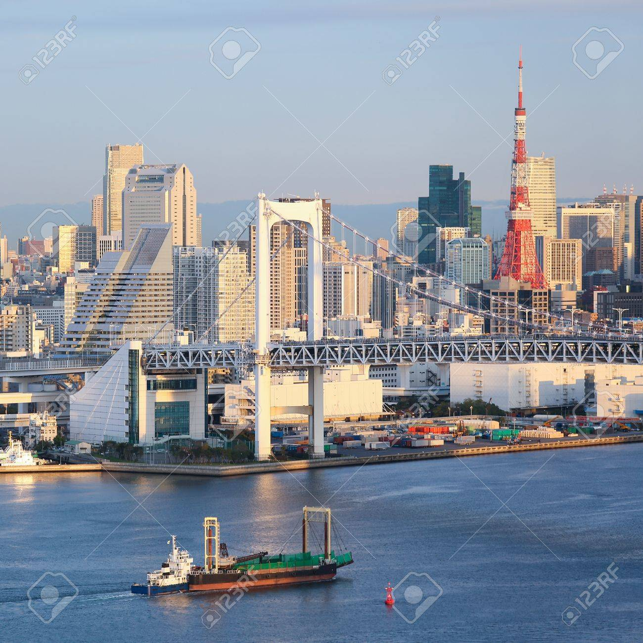Skyline of Tokyo as seen from Odaiba at sunset - 17283025