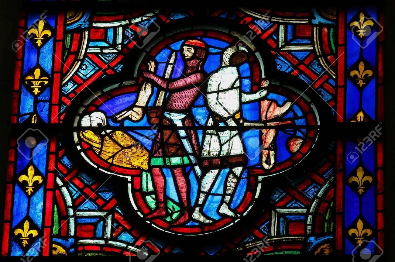 Vitrail Dans La Cathédrale Damiens Représentant Le Massacre Des
