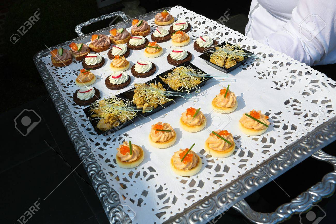 Tray With Appetizers At A Wedding Reception Stock Photo, Picture ...