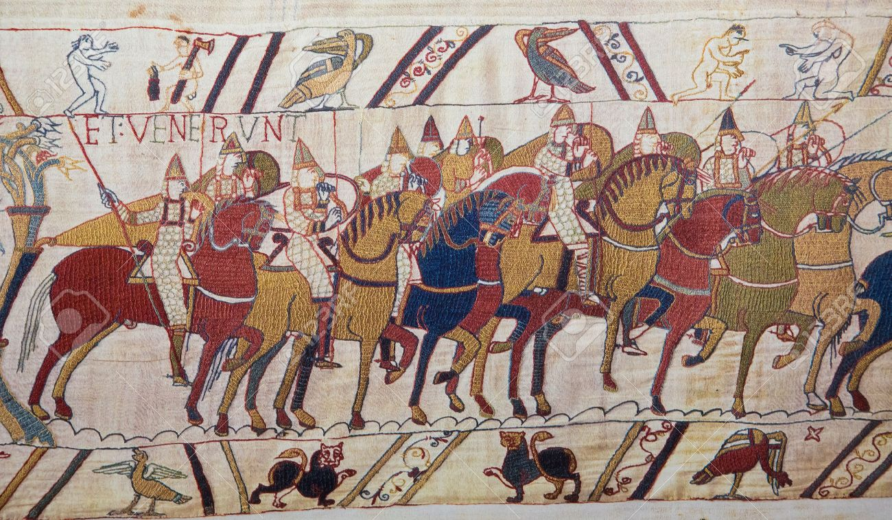Detail of the Bayeux Tapestry depicting the Norman invasion of England in the 11th Century This tapestry is more than 900 years old, no property release is required - 24854178