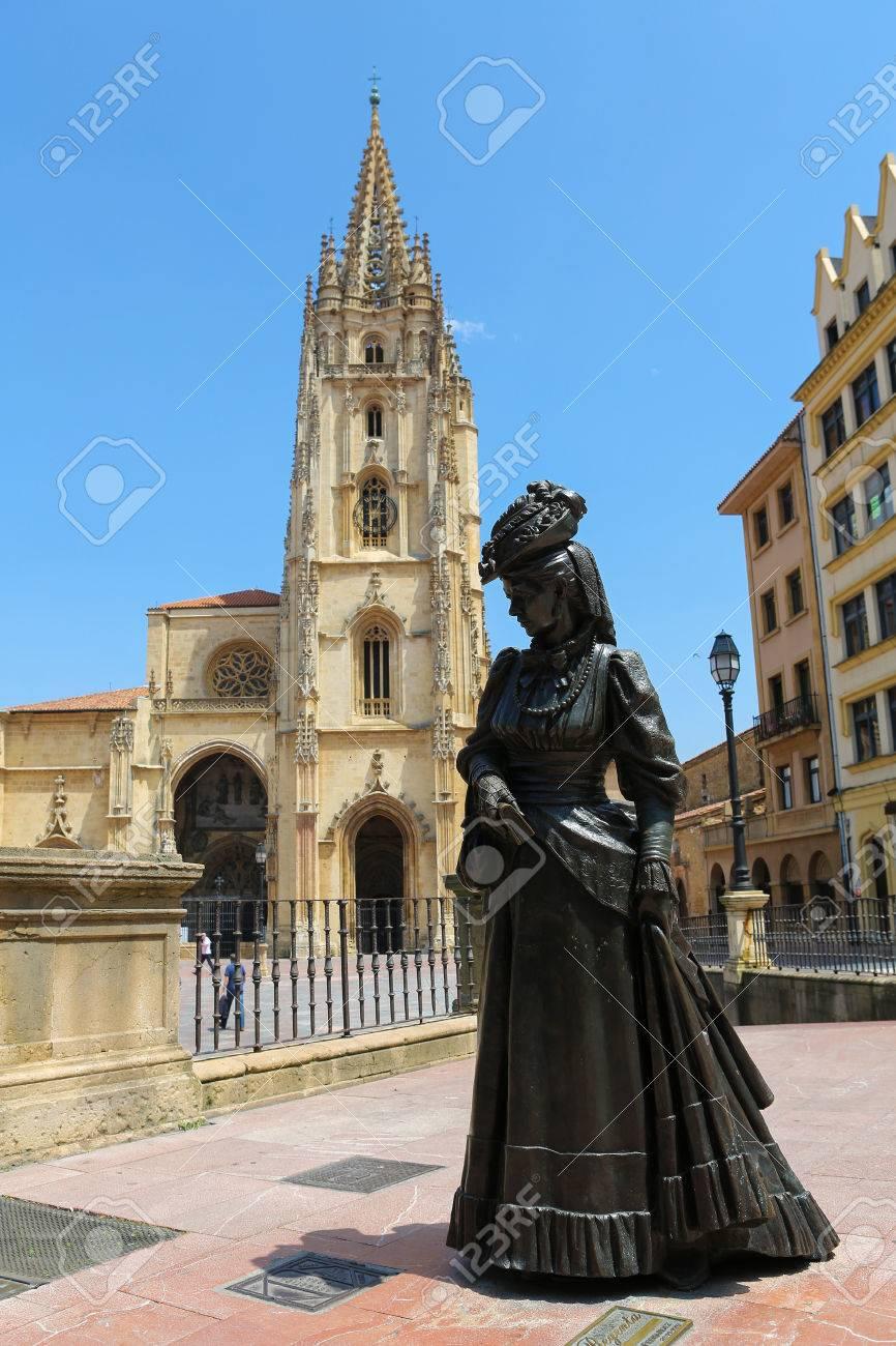 OVIEDO, SPAIN - JULY 17, 2014: Statue of La Regenta in front of