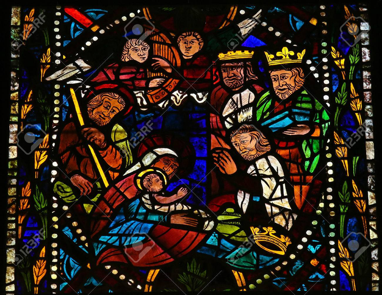 Stained glass window depicting a Nativity Scene with the Three Magi from the East in the cathedral of Leon, Castille and Leon, Spain. - 31516497