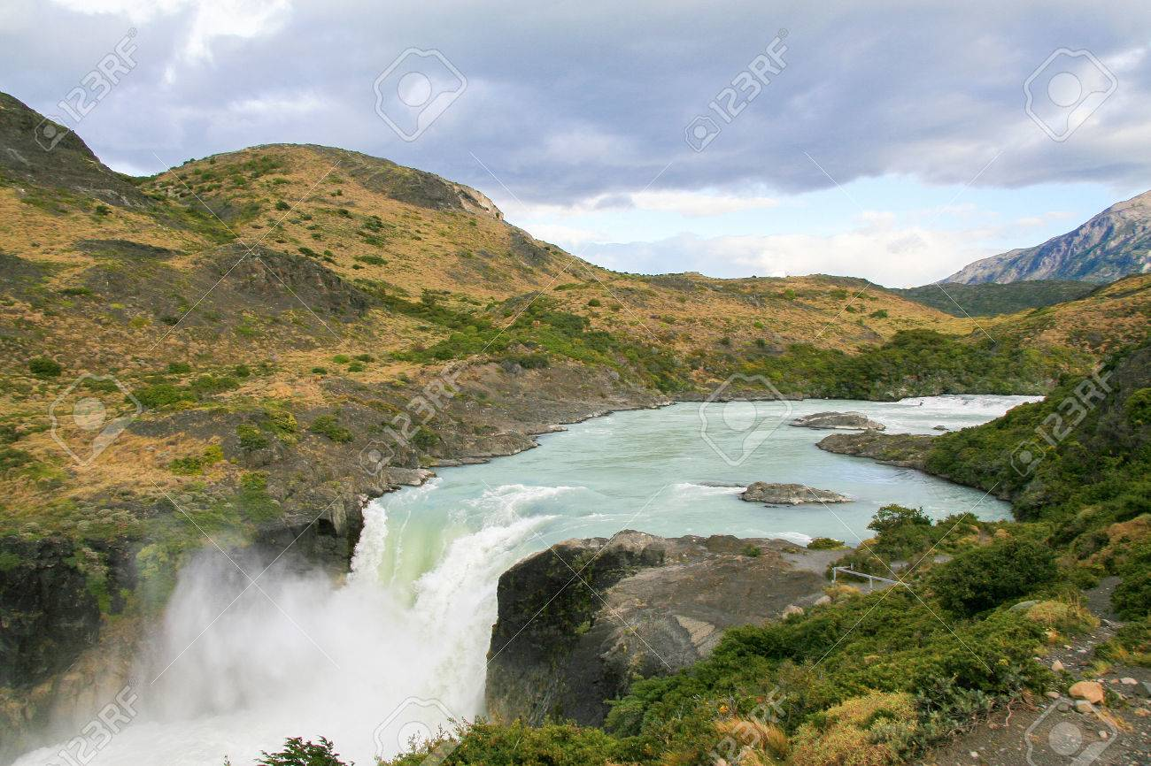Salto Grande Big Waterfall Torres Del Paine National Park Chile Stock Image