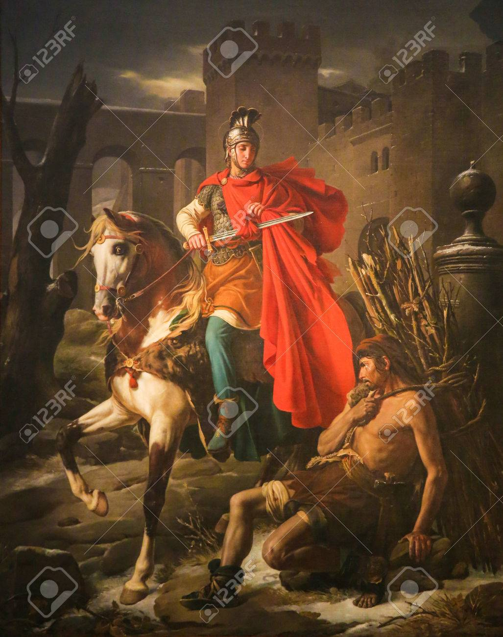 Painting depicting Saint Martin of Tours cuting a piece of his cloak in the Cathedral of Tours, France. - 47659798