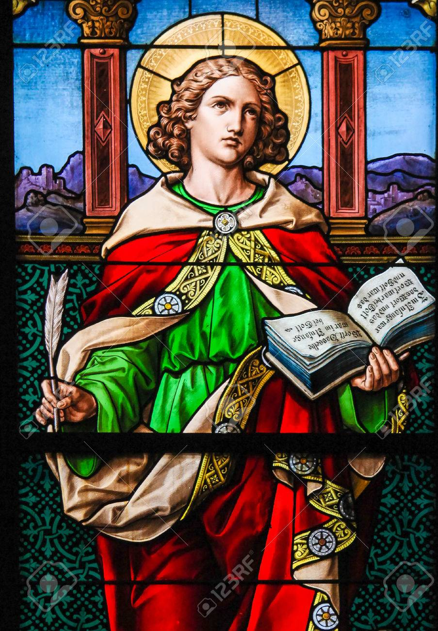 Saint John the Evangelist  Stained glass window in the German