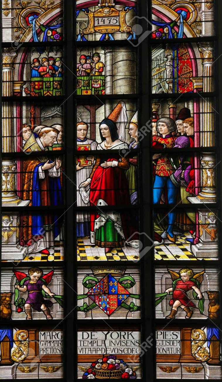 Stained Glass in St Gummarus Church in Lier, depicting Margaret