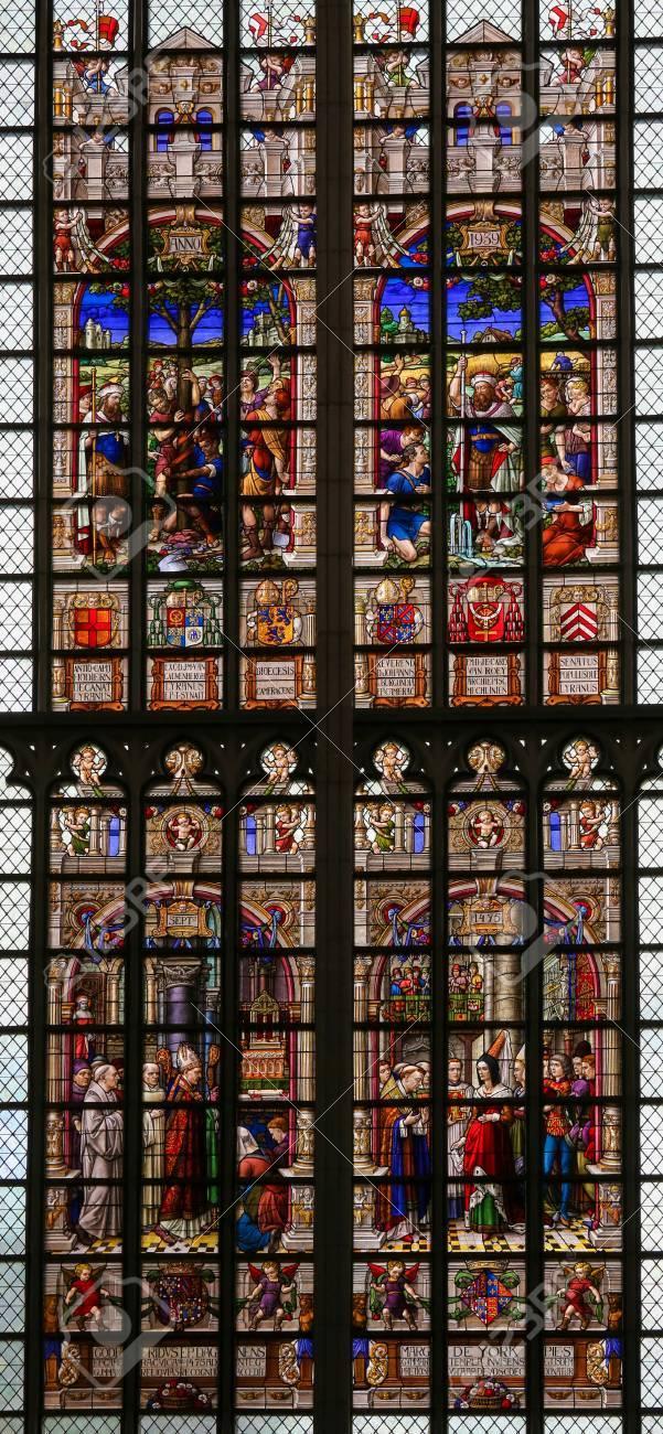 Stained Glass window in St Gummarus Church in Lier, Belgium,