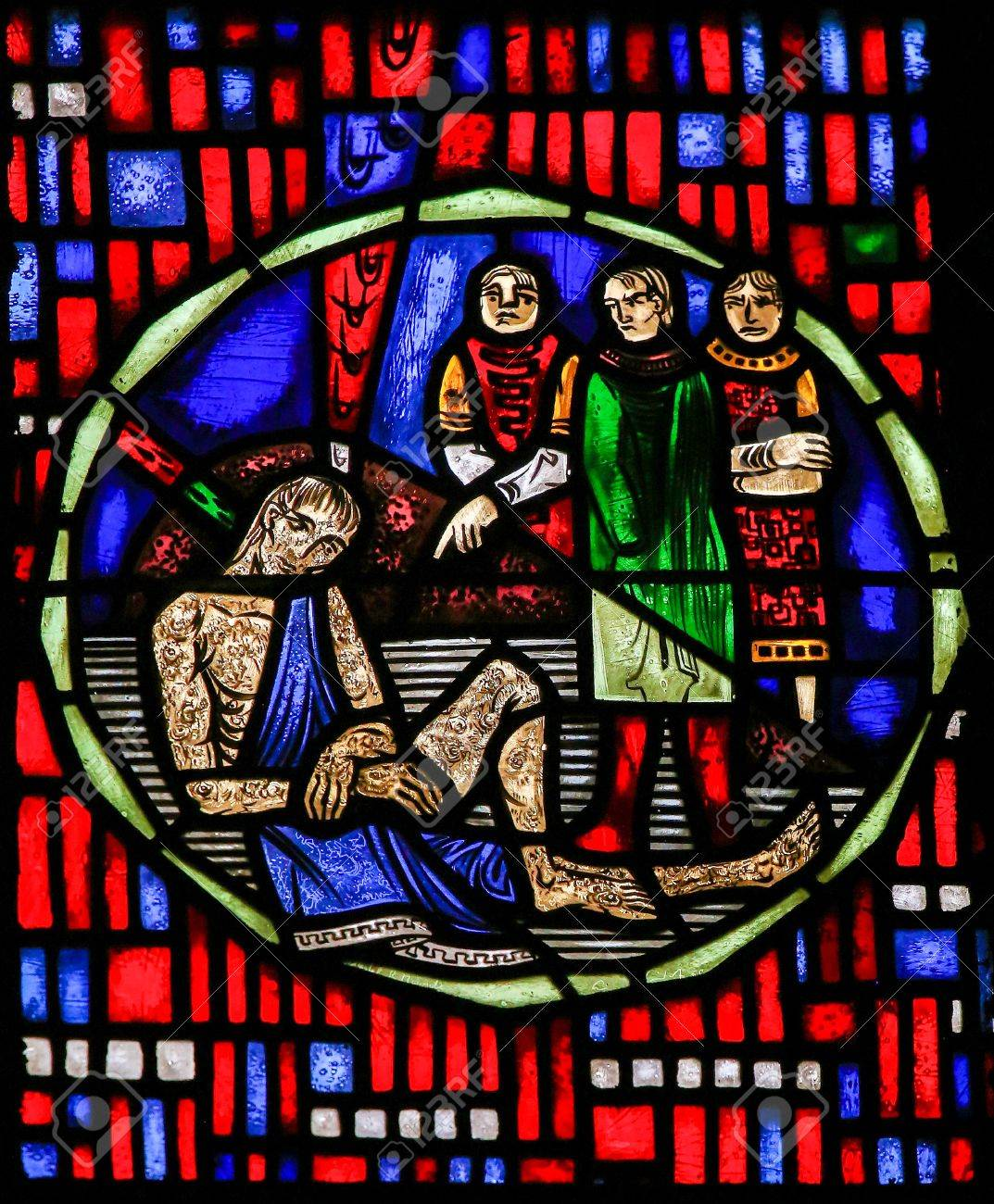 Stained Glass in Wormser Dom in Worms, Germany, depicting the Prophet Job - 83576935
