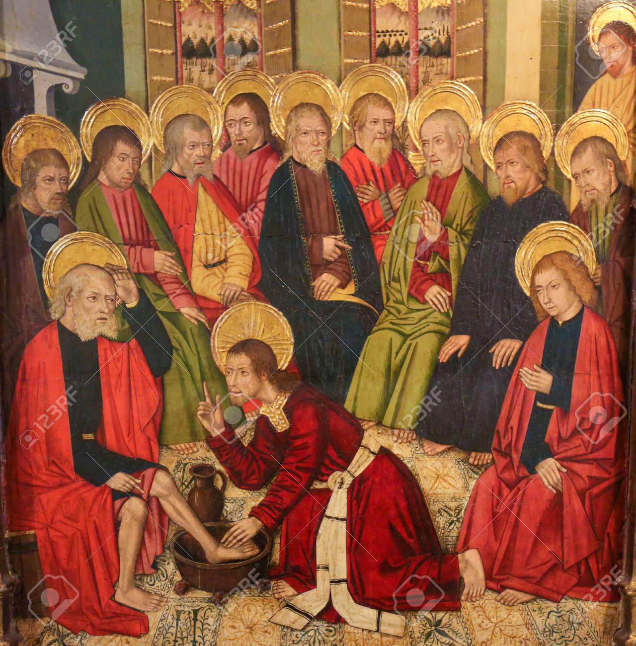 Painting of Jesus Christ washing the Feet of the Apostles at the Last Supper, in the Church of Valencia, Spain - 111725884