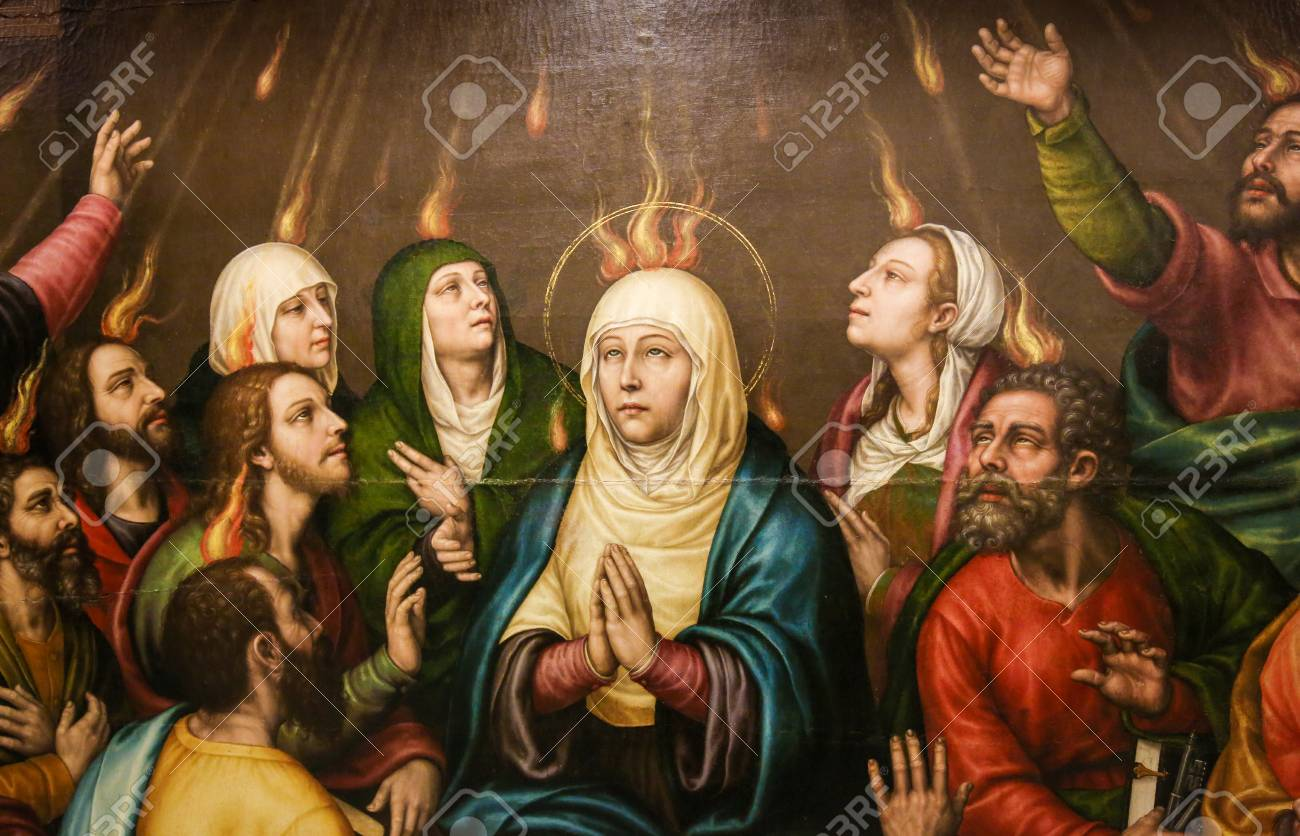Painting of Mother Mary and the Apostles at Pentecost, in the Church of Valencia, Spain - 111725888
