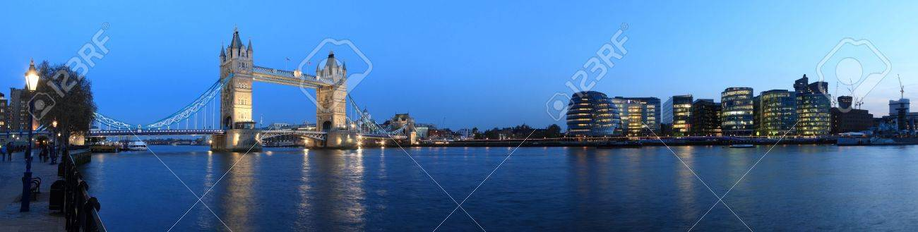 Tower Bridge and the Thames panoramic view about London at night - 15336304