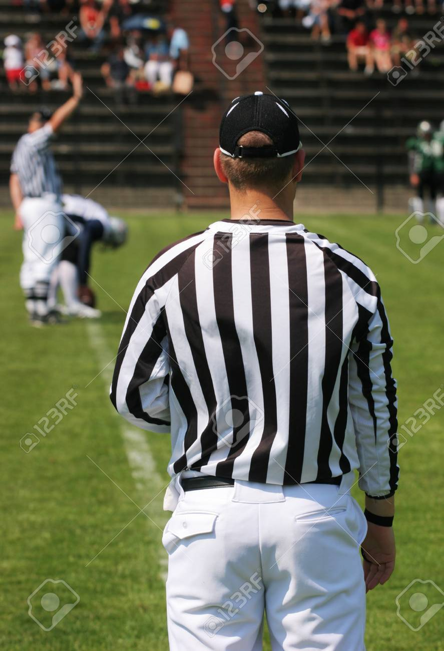 American Football Referee In Stripped Outfit