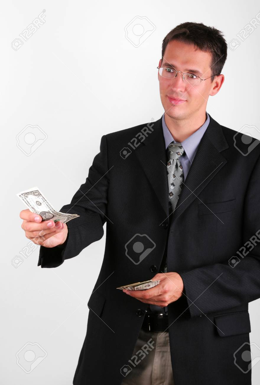 Business man give some notes Stock Photo - 24090704