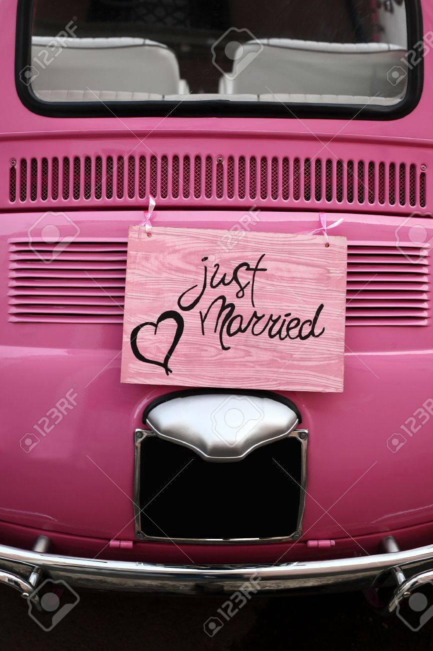 Just Married Wedding Sign For Car Or Decoration Stock Photo, Picture ...