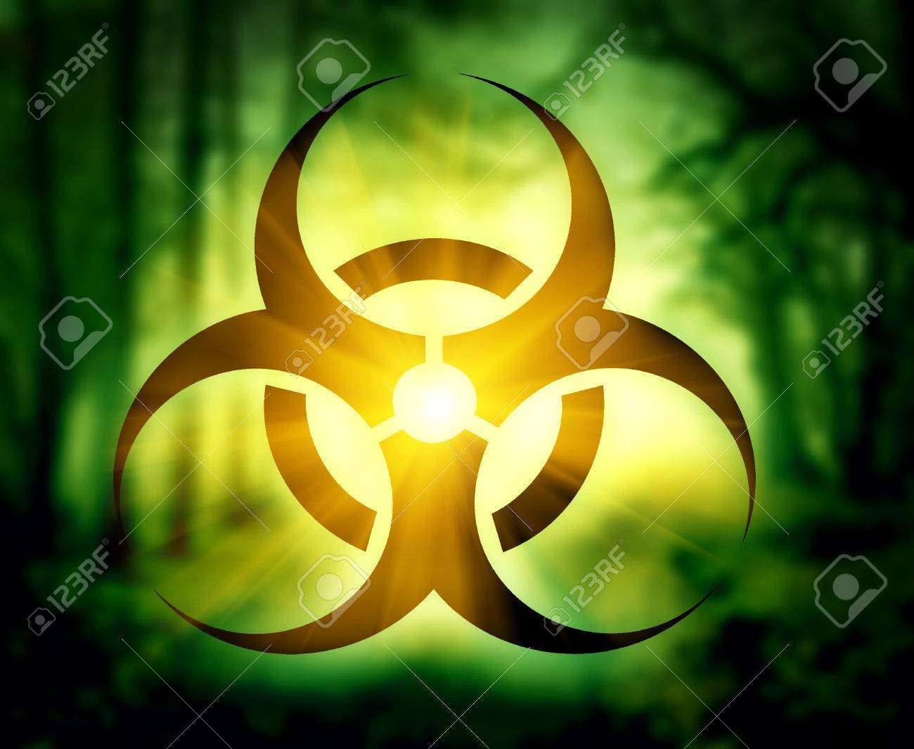 Biohazard symbol with glowing forest - 49282246