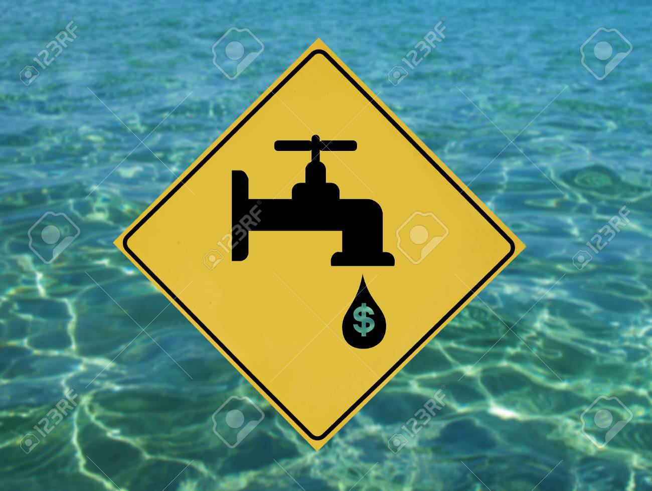 Yellow label with traffic leaking faucet pictogram - 57331645