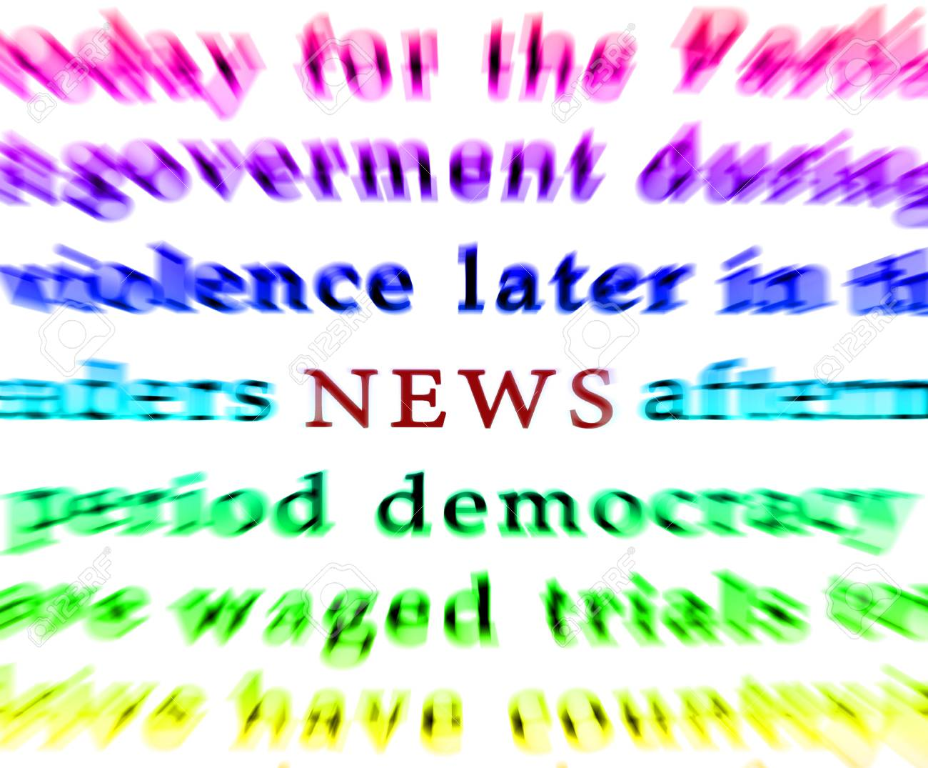 Newspaper isolated words news focus - 65575381