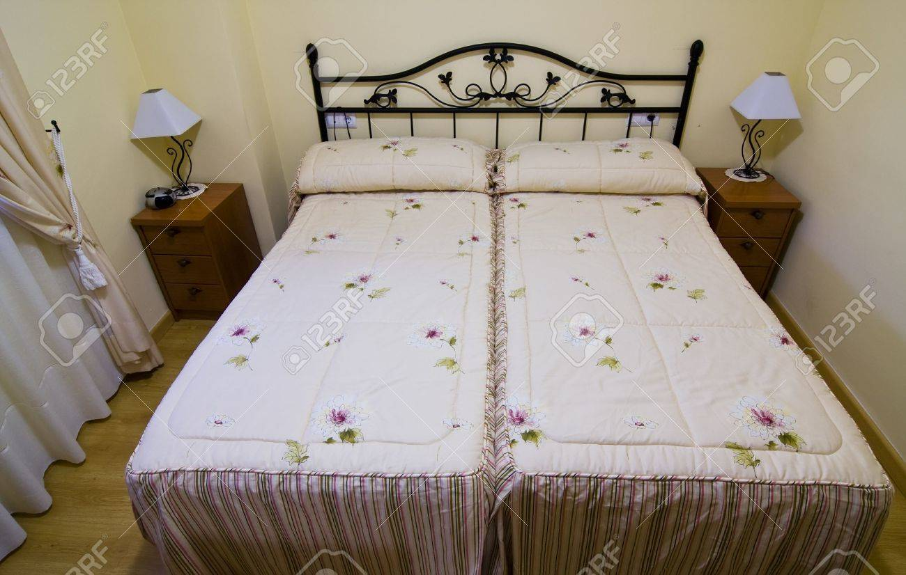 Small Bedroom With Two Beds Twin Beds In Small Hotel Room Stock Photo Picture And Royalty