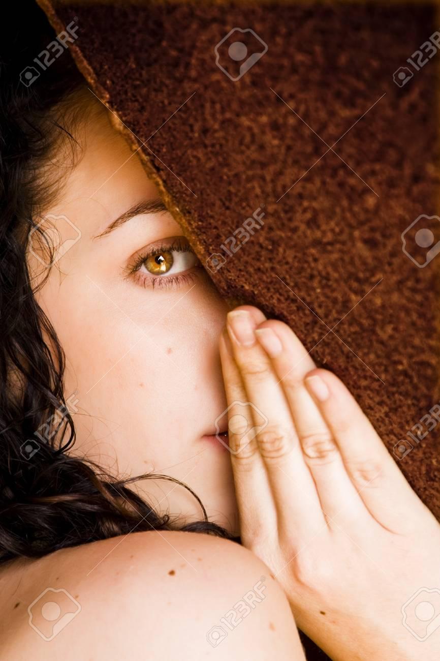 Hidden woman staring at camera Stock Photo - 4166192