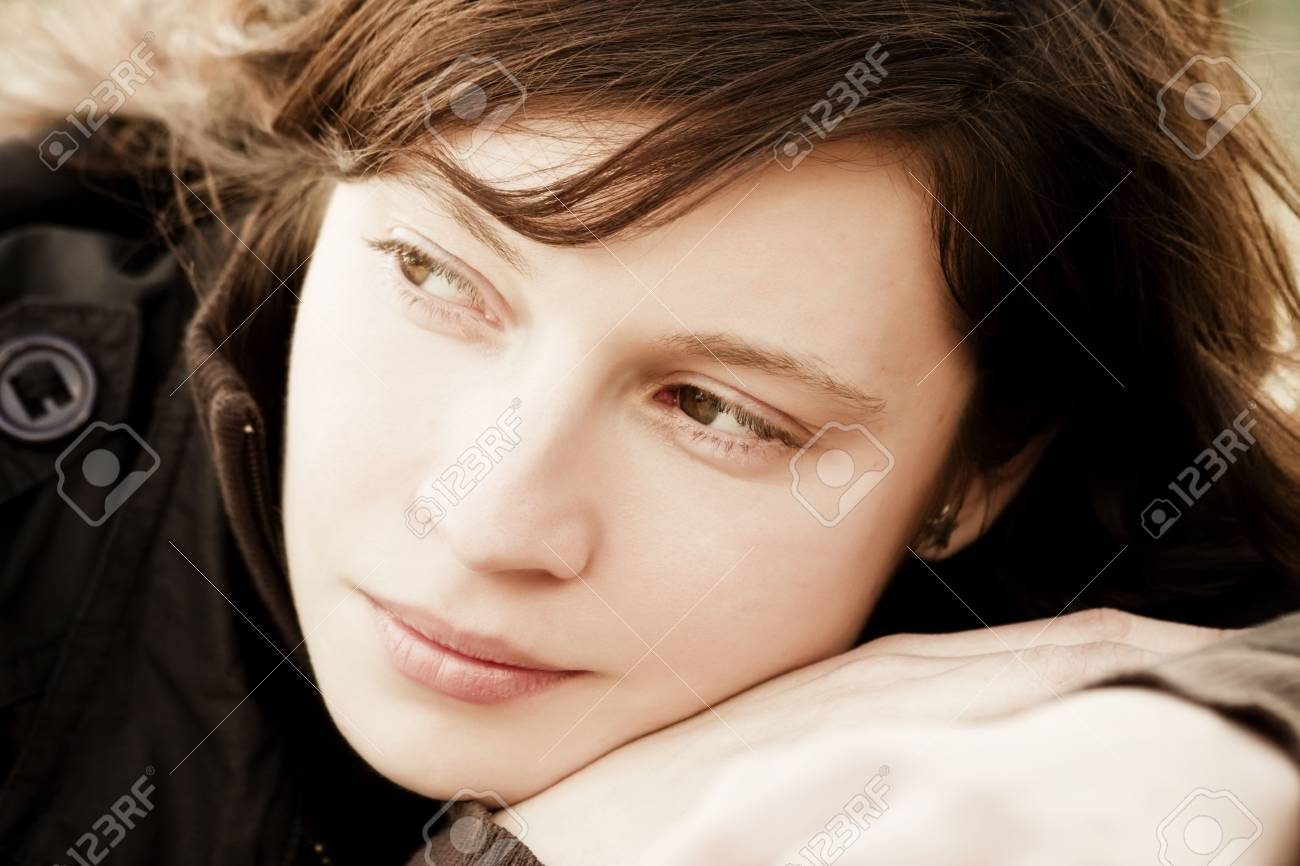 Caucasian woman in pensive expression Stock Photo - 4786669