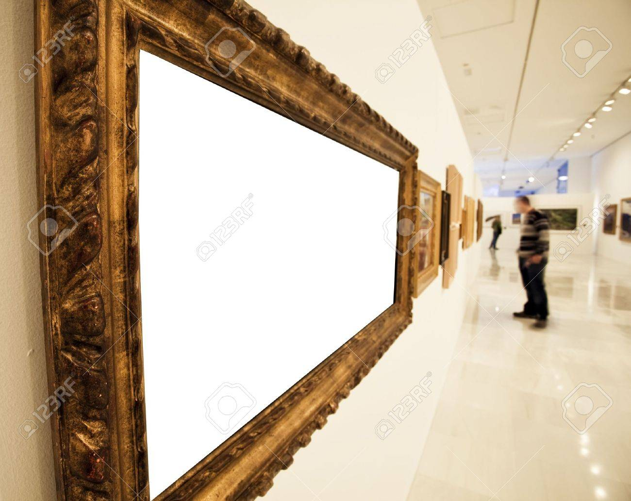 museum corridor with a blank big frame stock photo 5899869