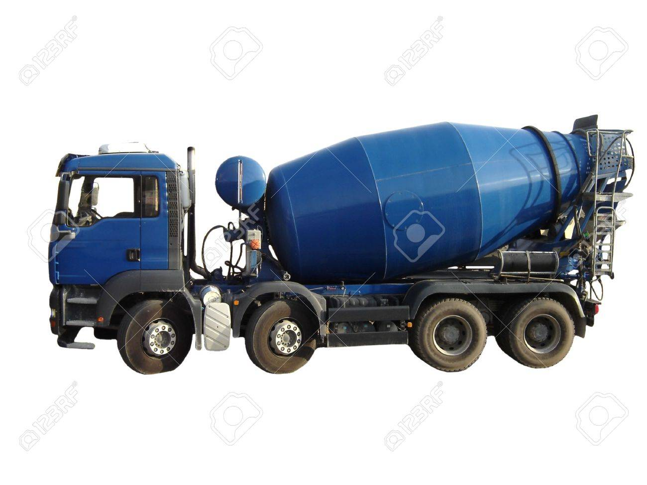 blue cement mixer truck isolated on white stock photo picture