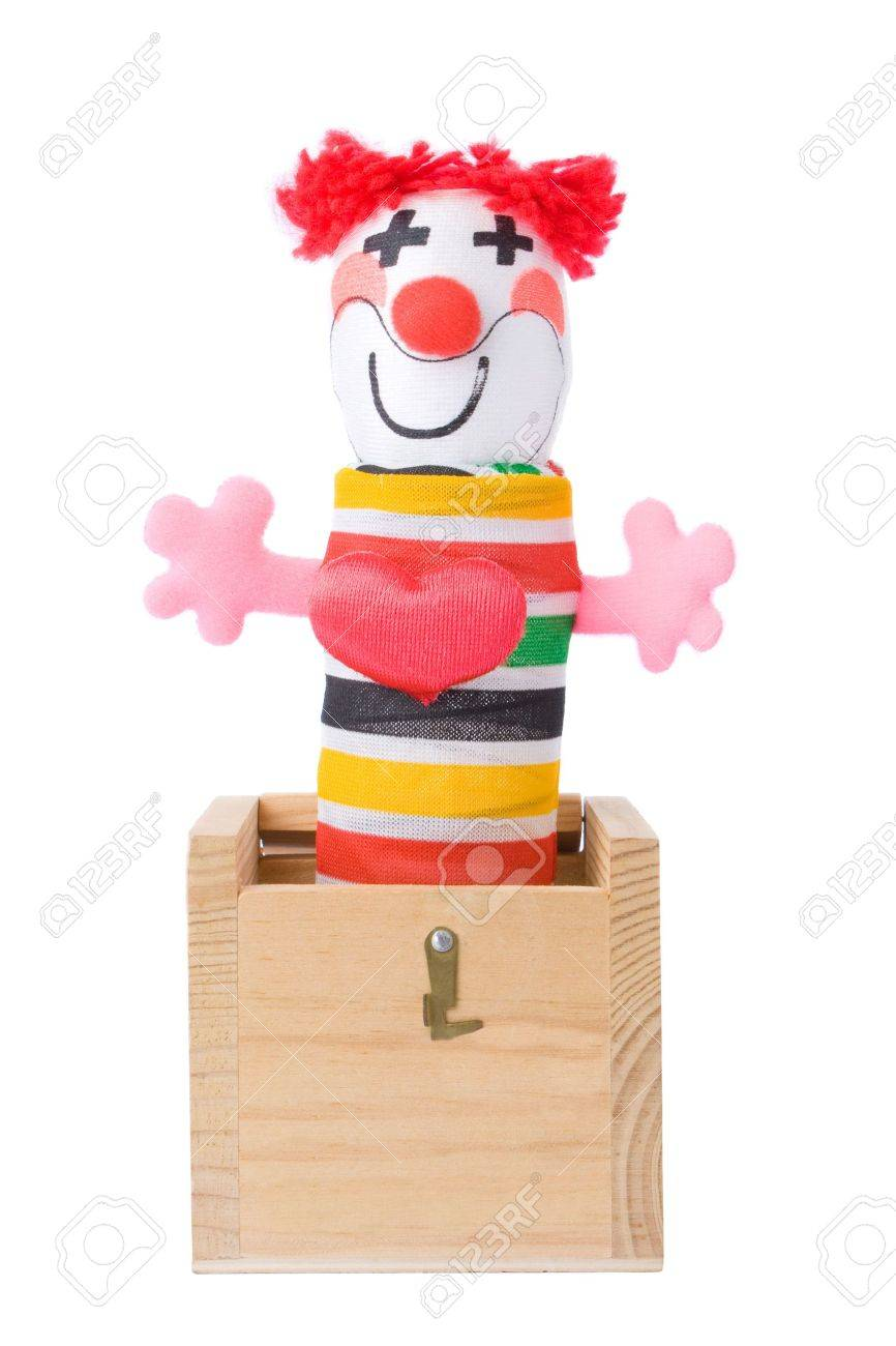 Jack-in-the-box toy isolated on a white background Stock Photo - 3603577