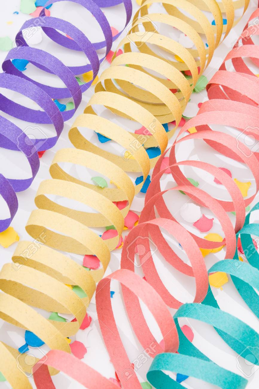 Several colourful party paper ribbons and confetti Stock Photo - 3839155