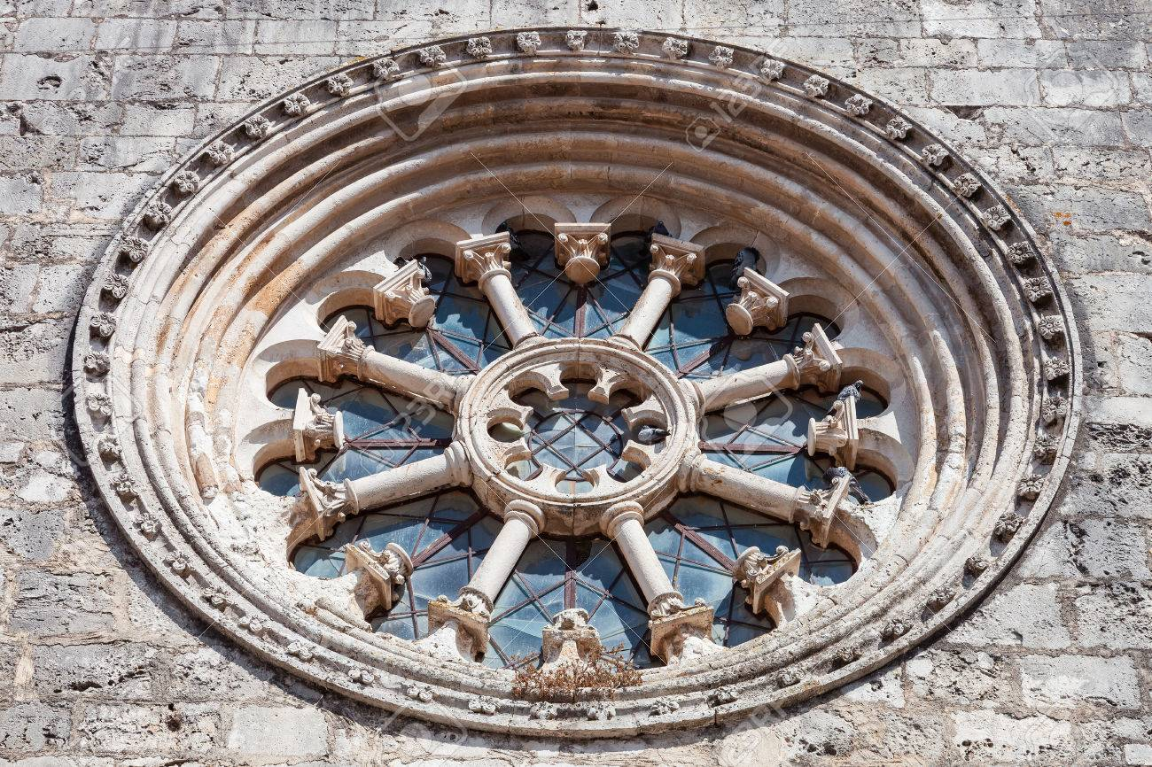 The Gothic Wheel Window Also Called As Rose Or Catherine