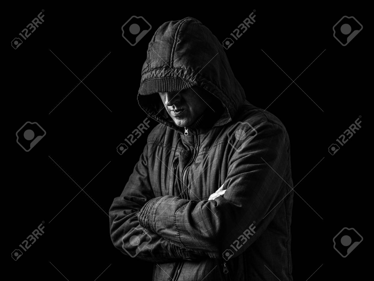 Lonely And Depressed >> Lonely Depressed And Fragile Man Hiding Face Arms Crossed And