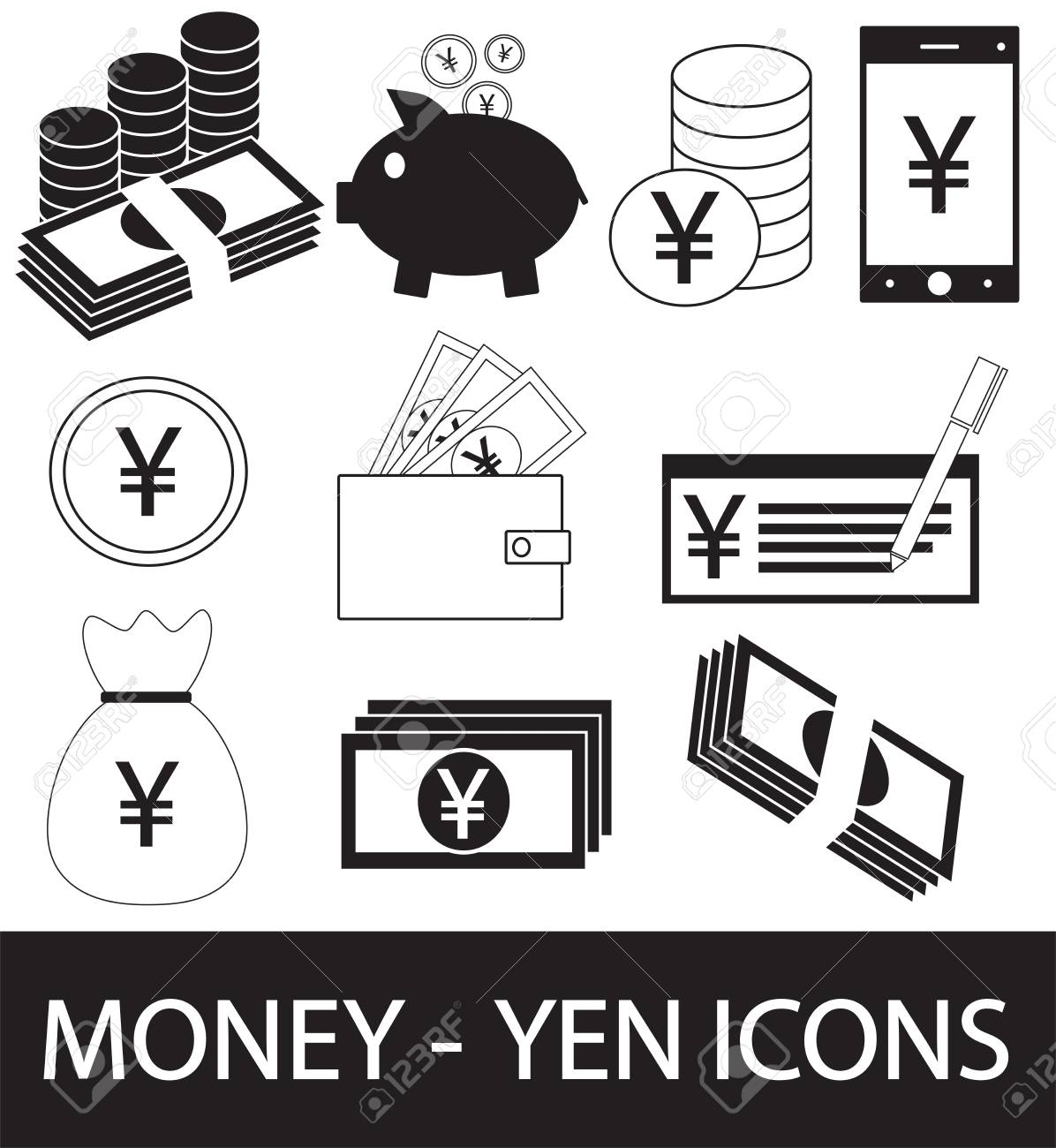 Set Collection Or Pack Of Yen Yuan Or Renminbi Currency Icon