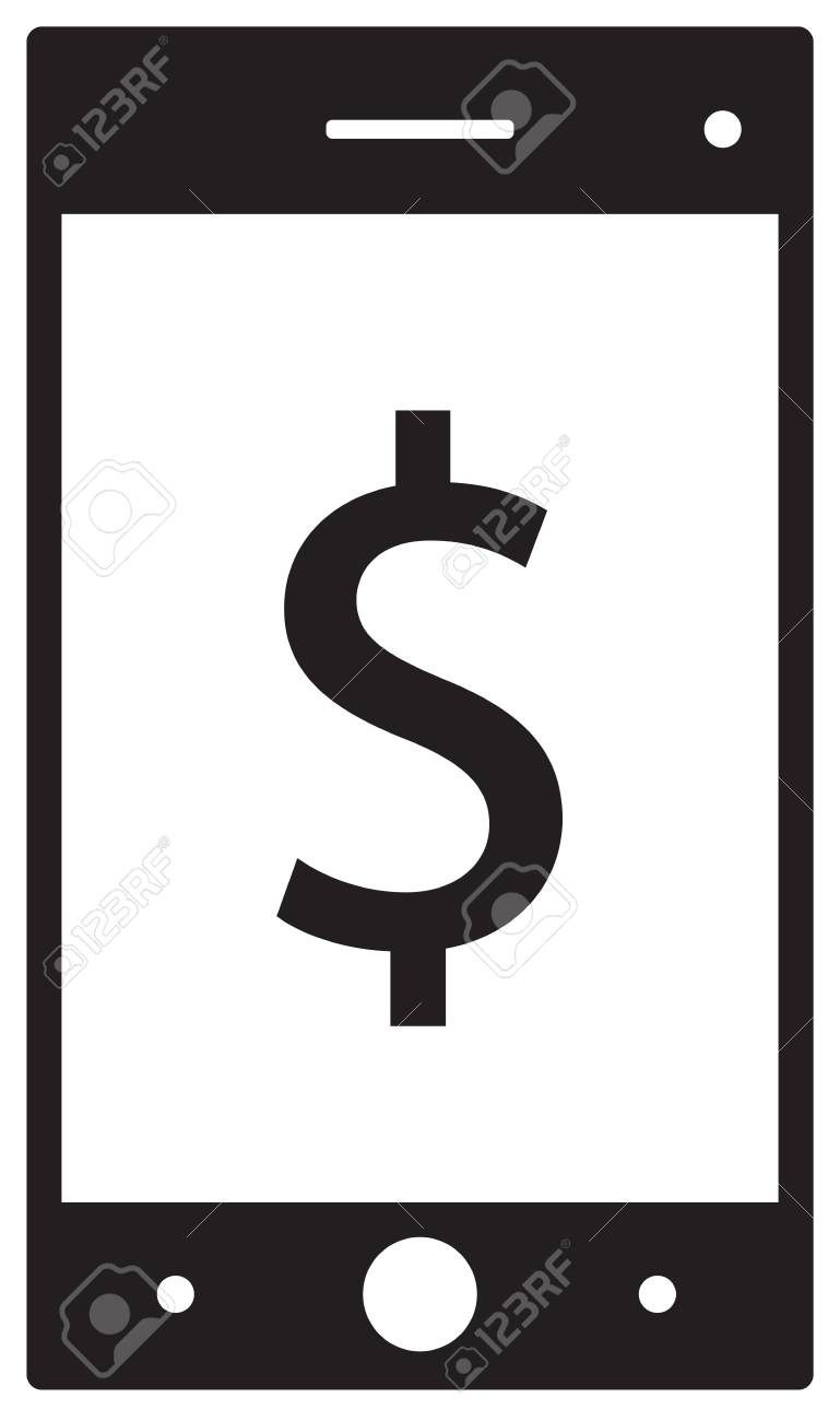 Dollar Currency Icon Vector On A Cell Phone, Mobile Phone Or ...