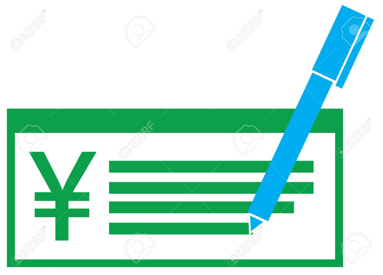 Yen Yuan Or Renminbi Currency Icon Vector On A Pay Check Symbol