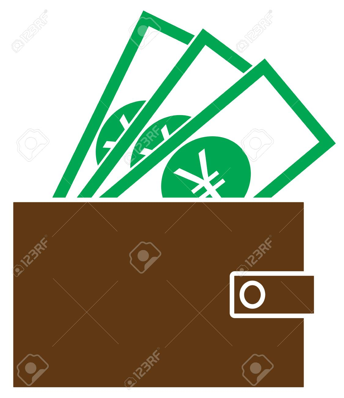 Yen Yuan Or Renminbi Currency Icon Vector On Notes Popping Out