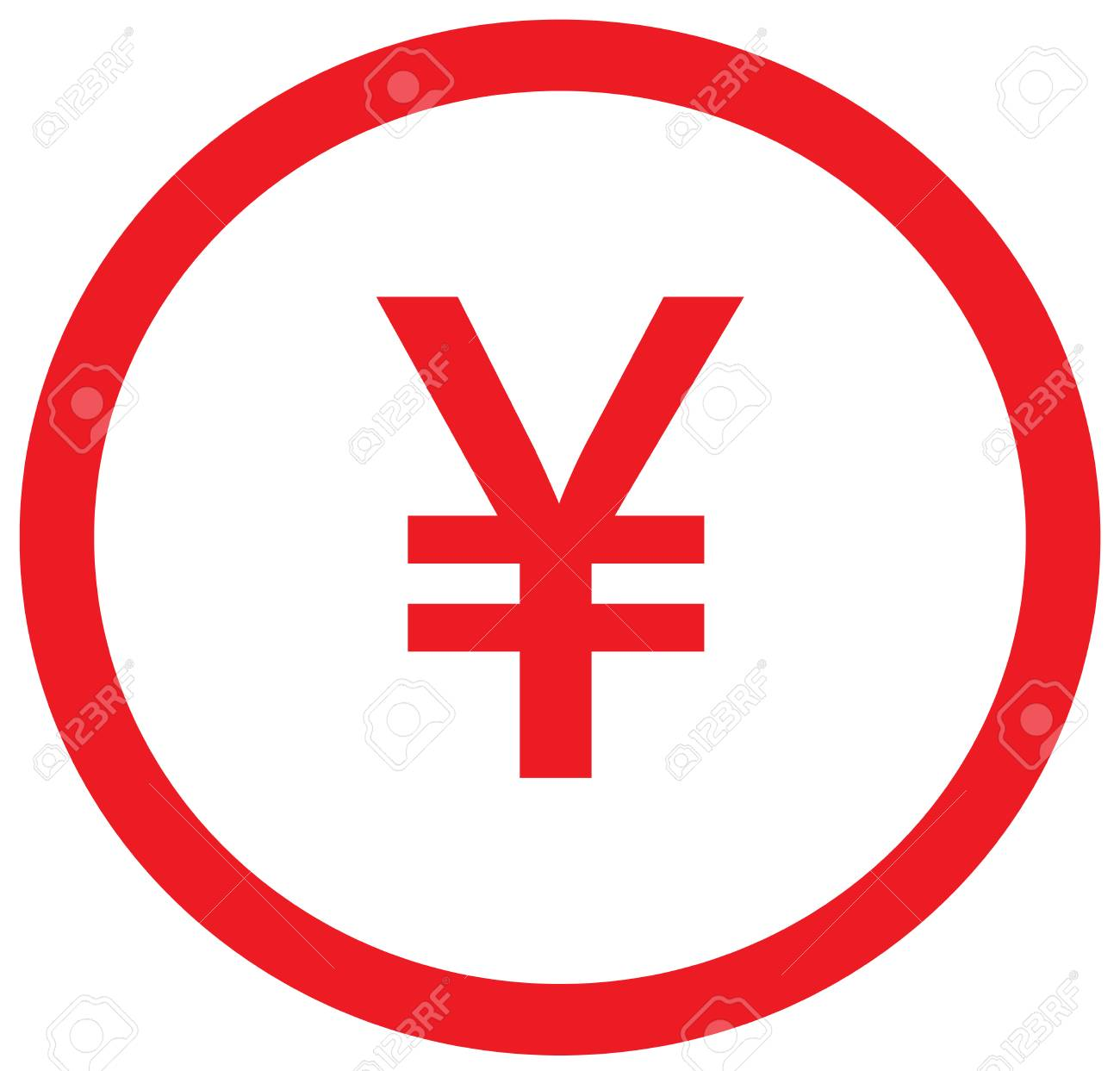 Yen Yuan Or Renminbi Currency Icon Vector Over A Coin Symbol