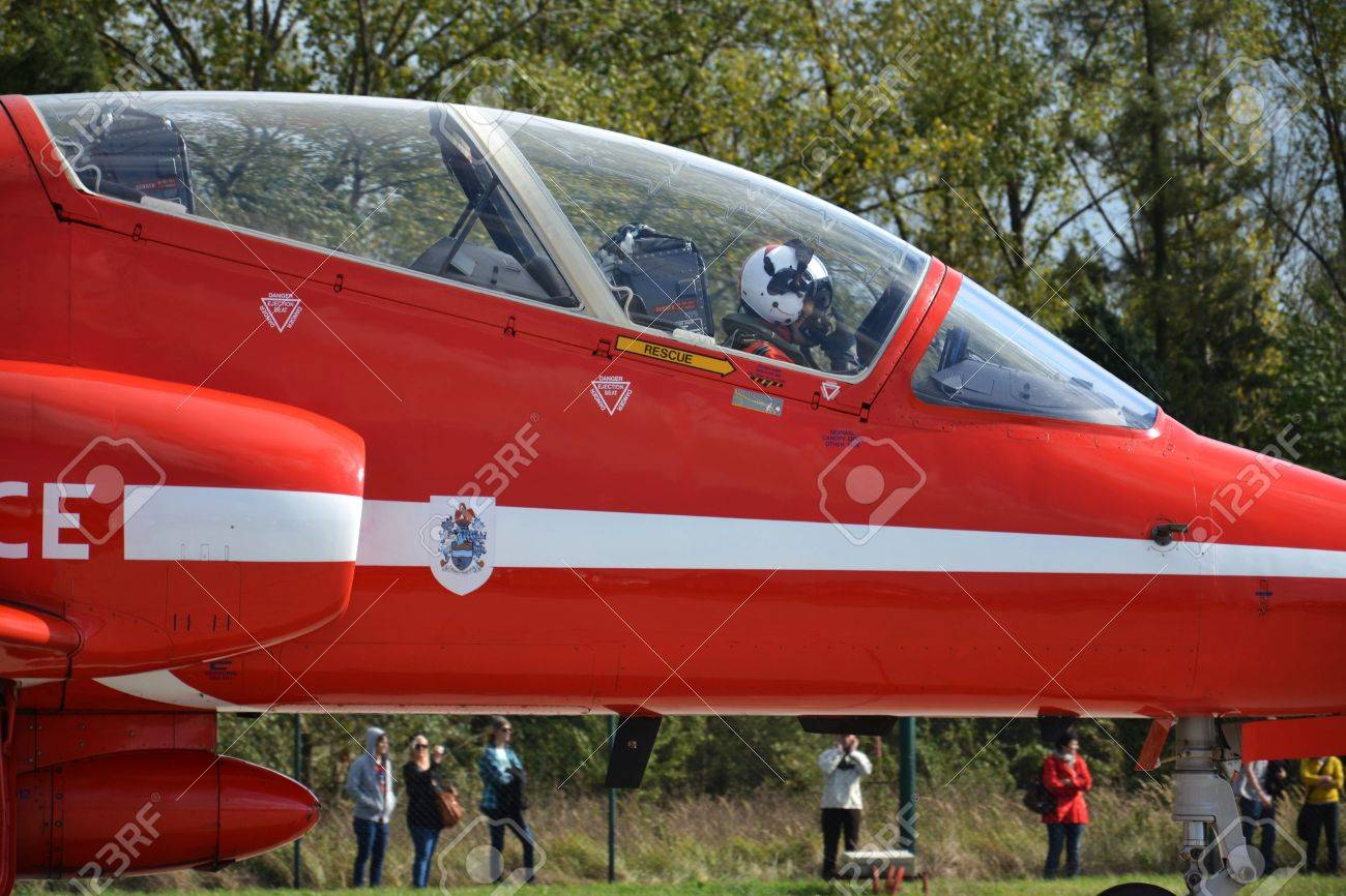 Ostrava, Czech republic - September 22, 2012 - Red Arrows RAF aerobatic display jet during airshow session NATO Days. Stock Photo - 15370302