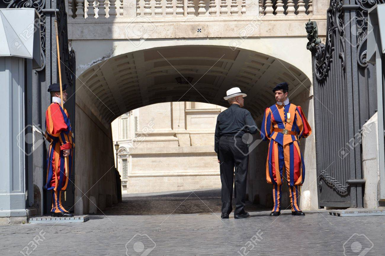 Rome, Italy - July 11: Vatican guard stands in front of Saint Peter Stock Photo - 16337665