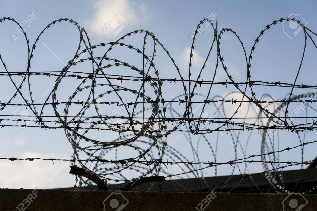 barbed wire fence drawing. Brilliant Fence Prison Wall Barbed Wire Fence Detail With Blue Sky In Background Stock  Photo  56370269 Intended Barbed Wire Fence Drawing A
