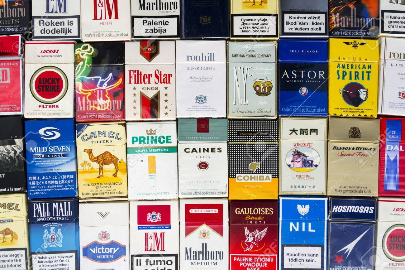 Prague Czech Republic March 25 Many Packs Of Different Cigarettes Stock Photo Picture And Royalty Free Image Image 75289484