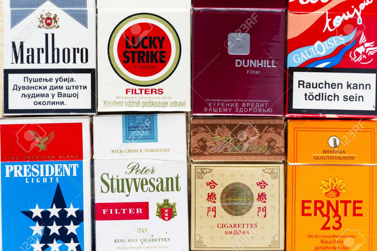 Prague Czech Republic March 25 Many Packs Of Different Cigarettes Stock Photo Picture And Royalty Free Image Image 75289490