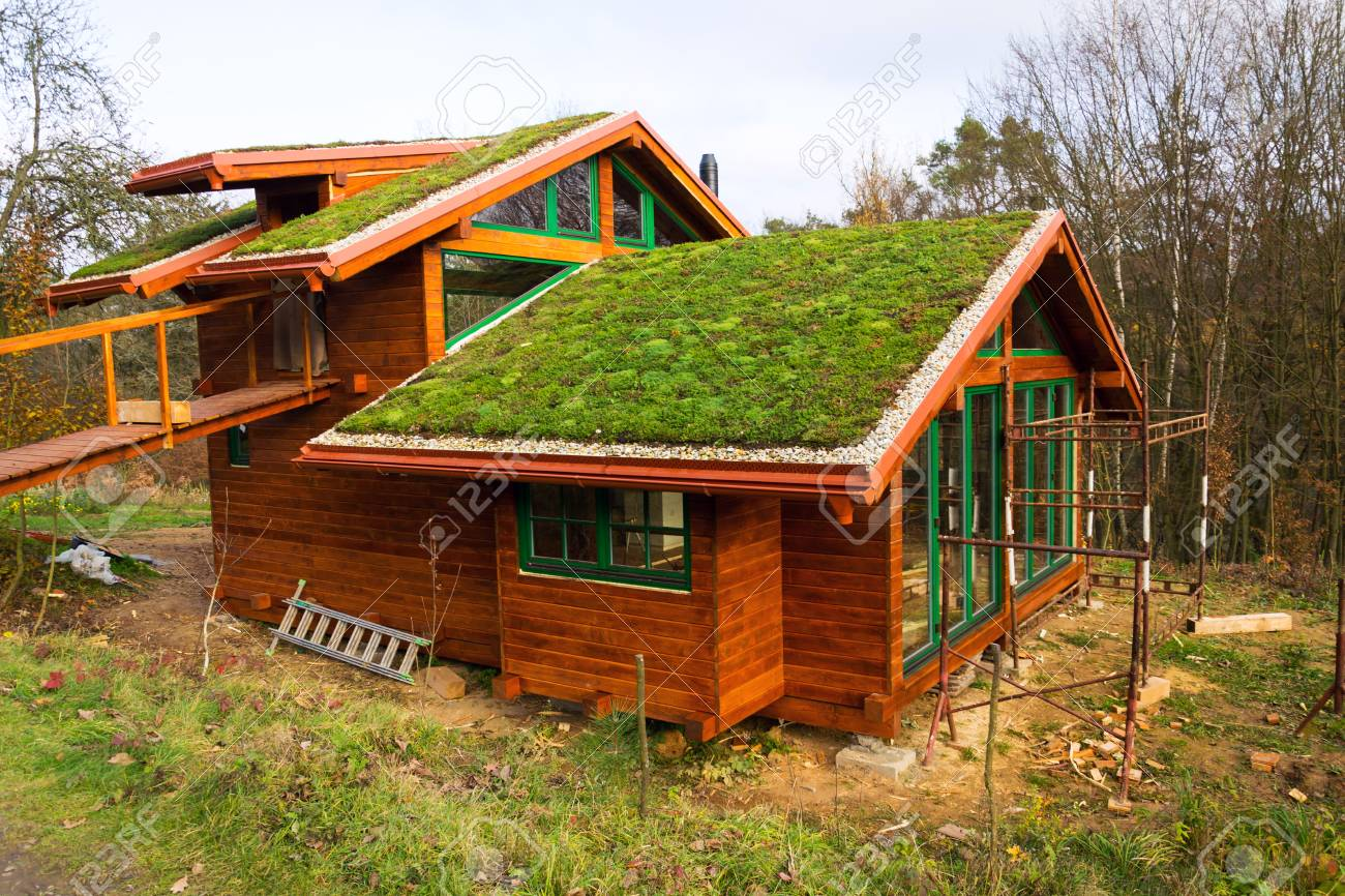 Green Living Sod Roof With Grass On Wooden Building Stock Photo