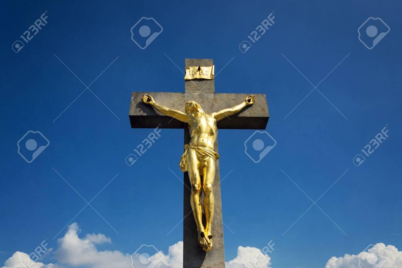 Golden Jesus Christ Crucifixion Statue Sunny Summer Day Blue Sky Background Vrbice Moravia Czech Republic