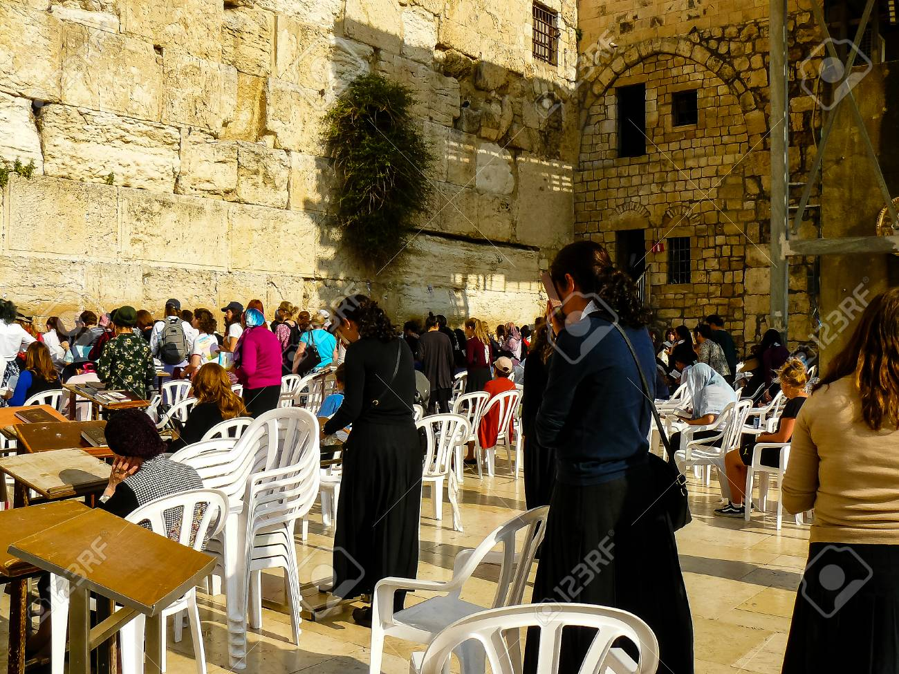 Jerusalem Israel April 16 2018 Unknown Woman Praying Front The